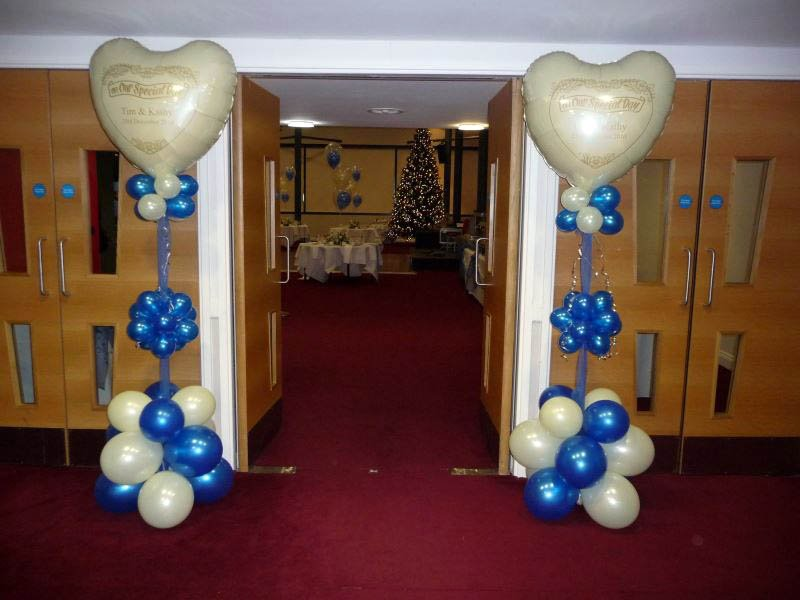 Two balloon tree's with personalised printed balloons as two ent