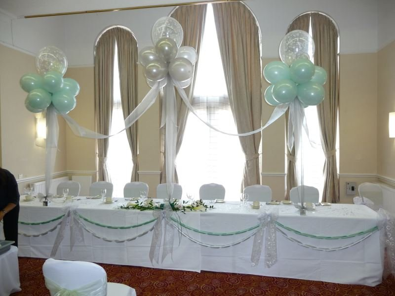 Mint and white wedding balloon theme