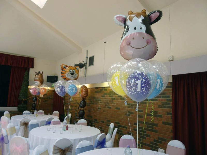 1st birthday party double bubbles with foil shaped animal head a