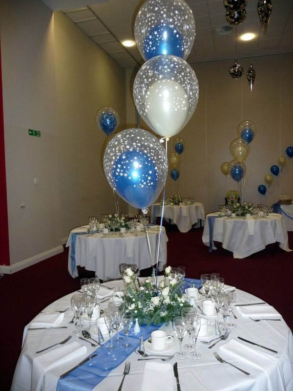 Double bubble helium filled balloon arrangement tied into a flow