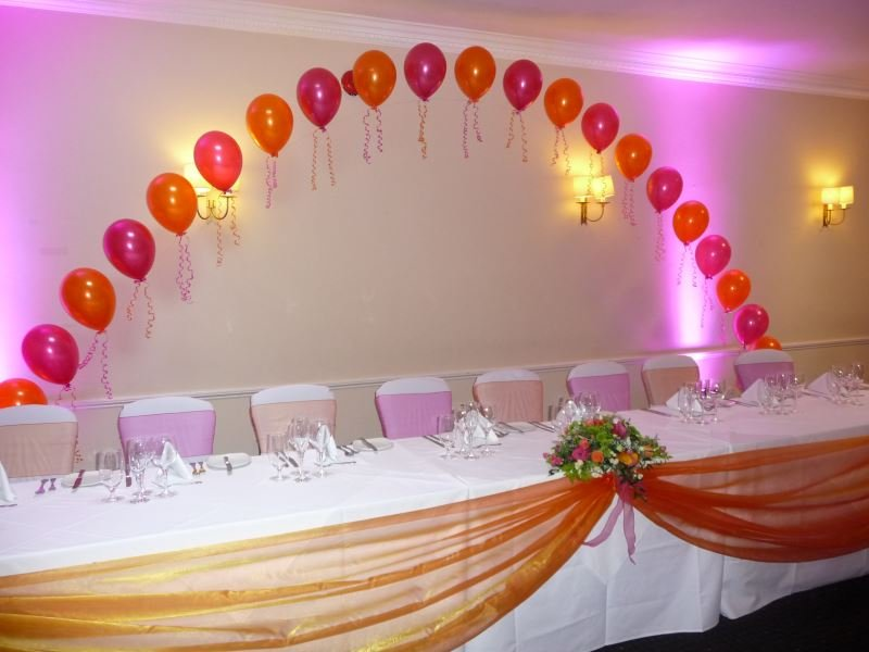 Balloon arch behind Bride and Groom's table