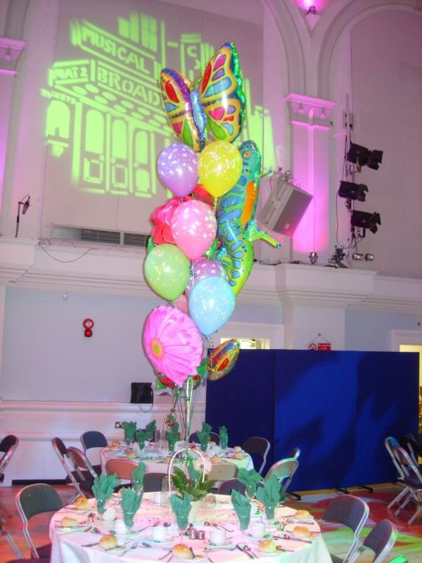 Garden themed party balloons on tables